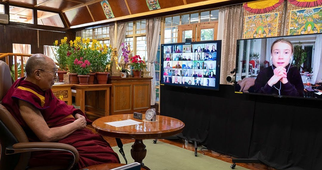 The Dalai Lama speaks with Greta Thunberg